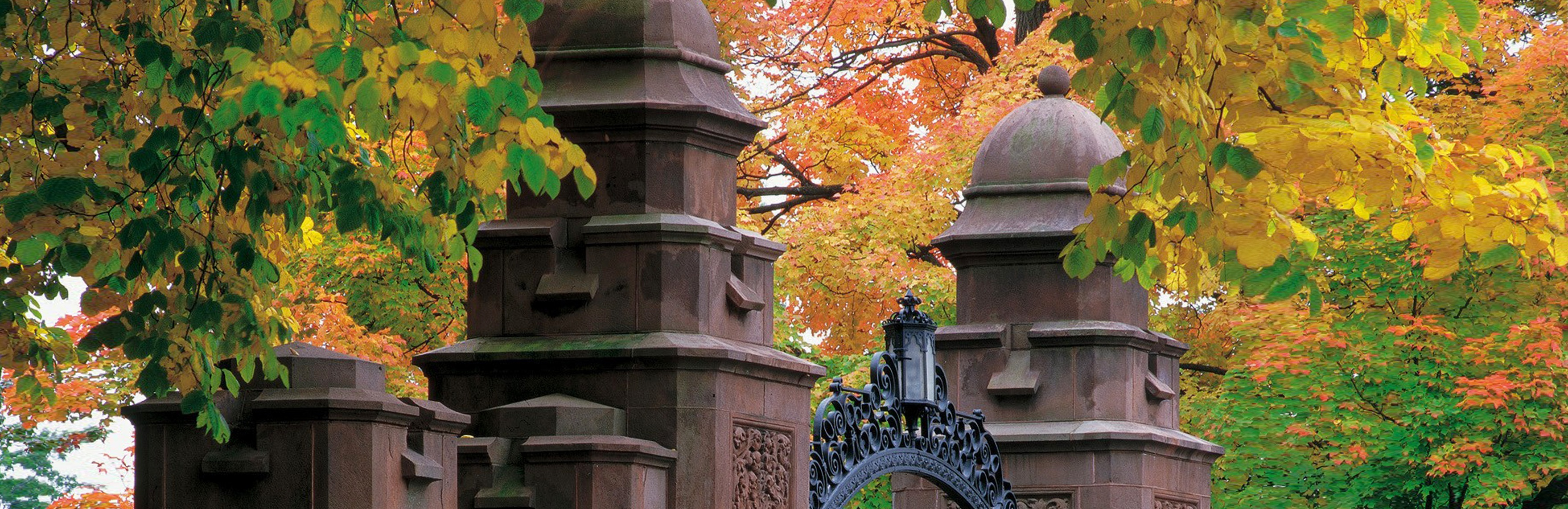 The gates of Mount Holyoke College in the fall