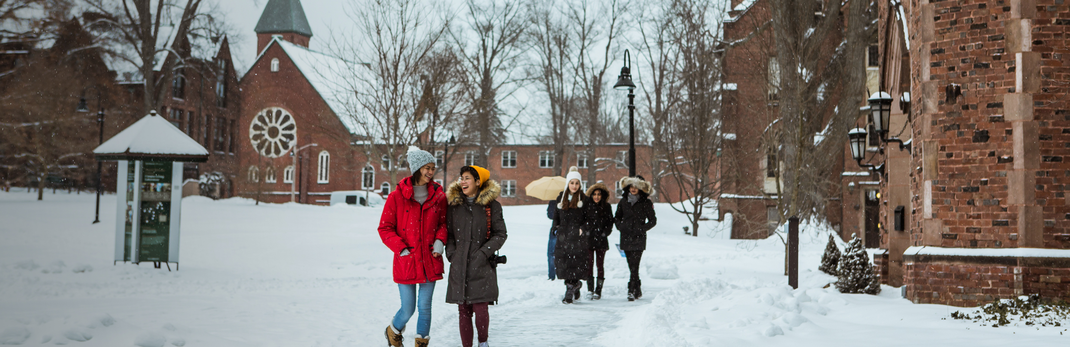 Mount Holyoke students in winter