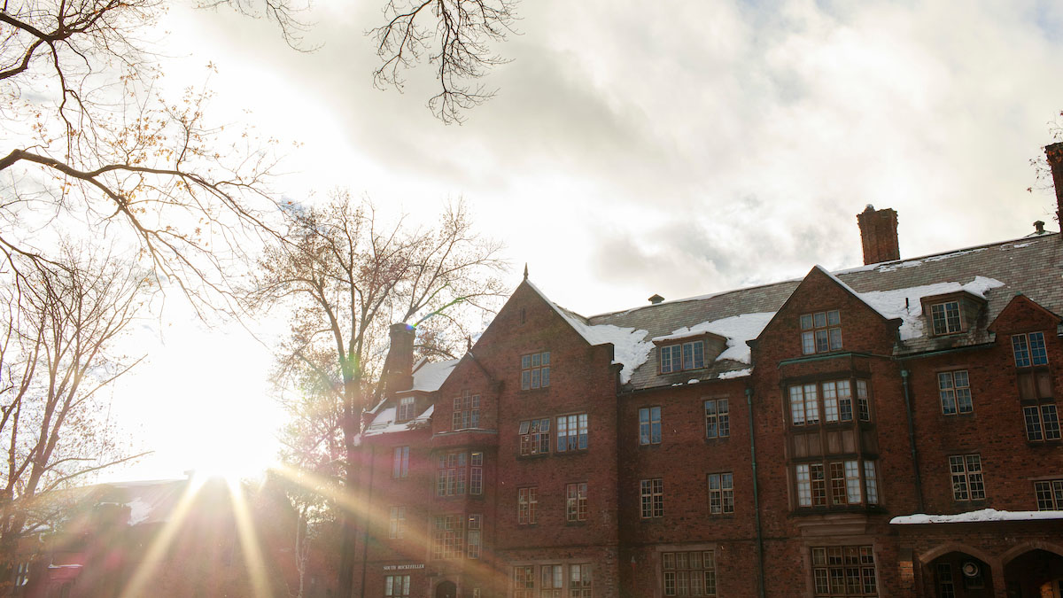Winter sun above Mary Woolley Hall and Rockefeller Hall