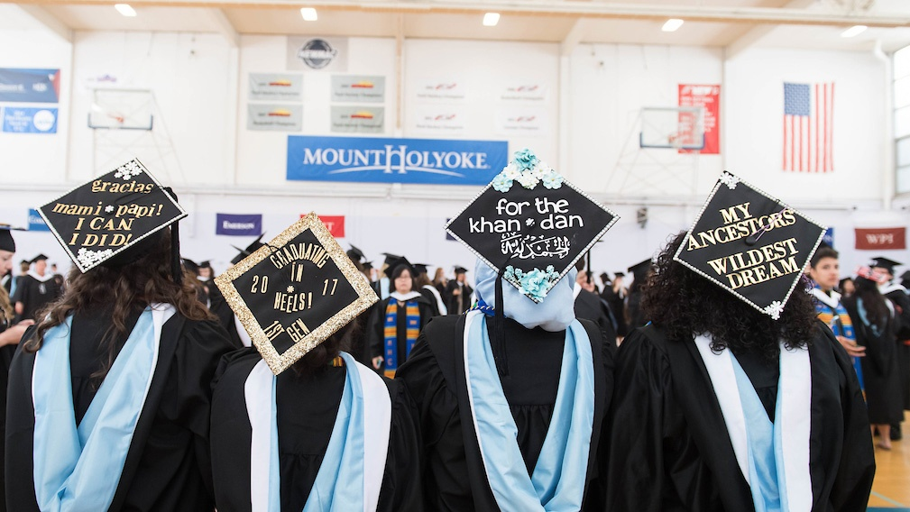 Members of the class of 2017 get ready for Commencement