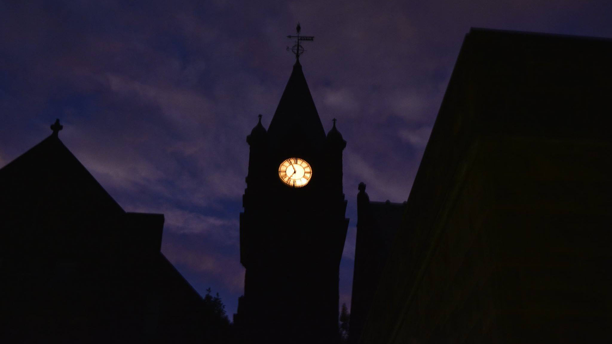 Mary Lyon Hall, clock tower at night