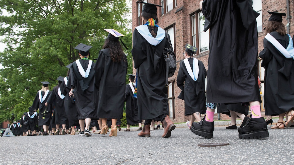 Students processing on Commencement Day