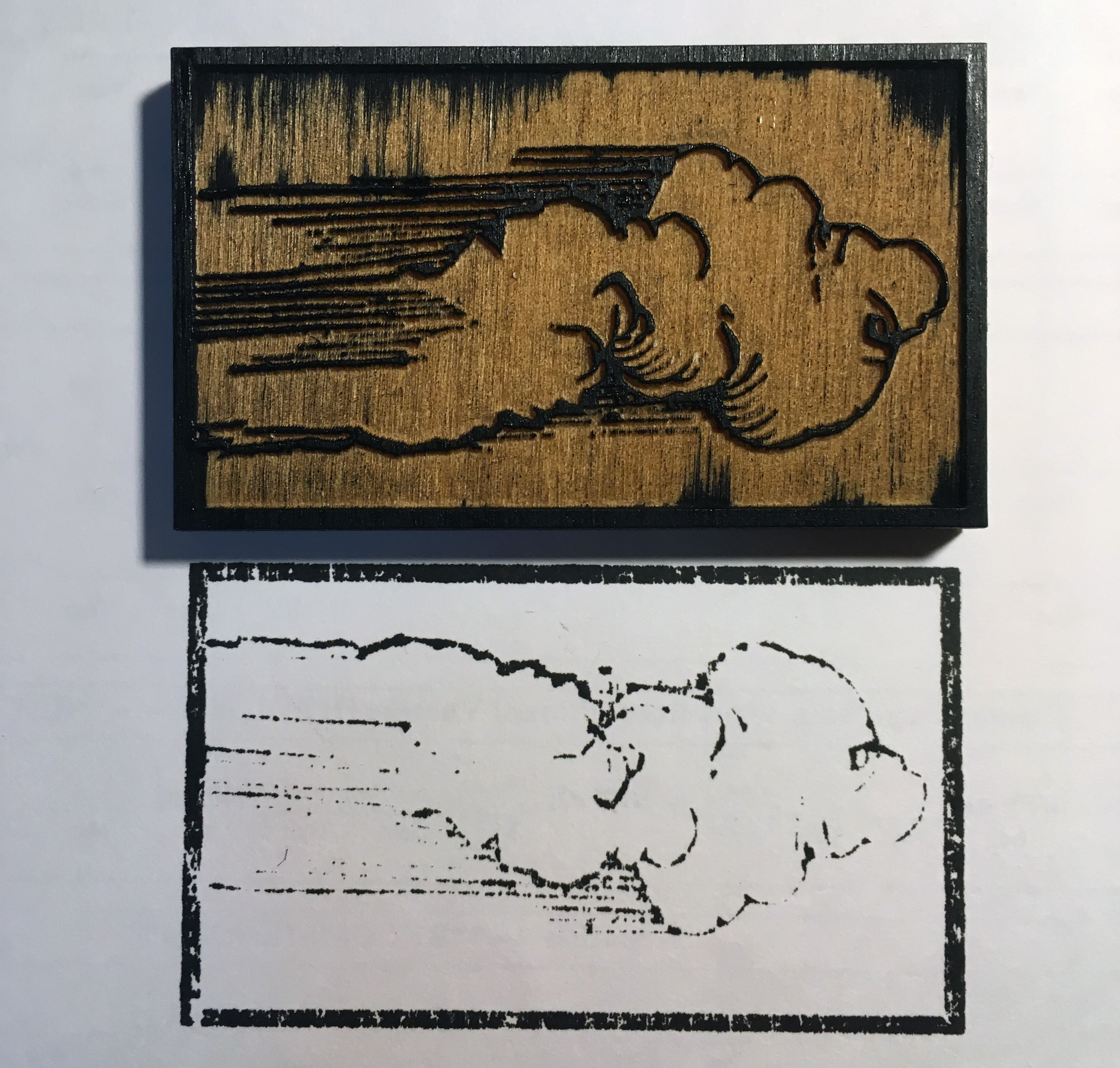 Chen's laser-cut woodblock of Dürer's cloud and a print she created from it