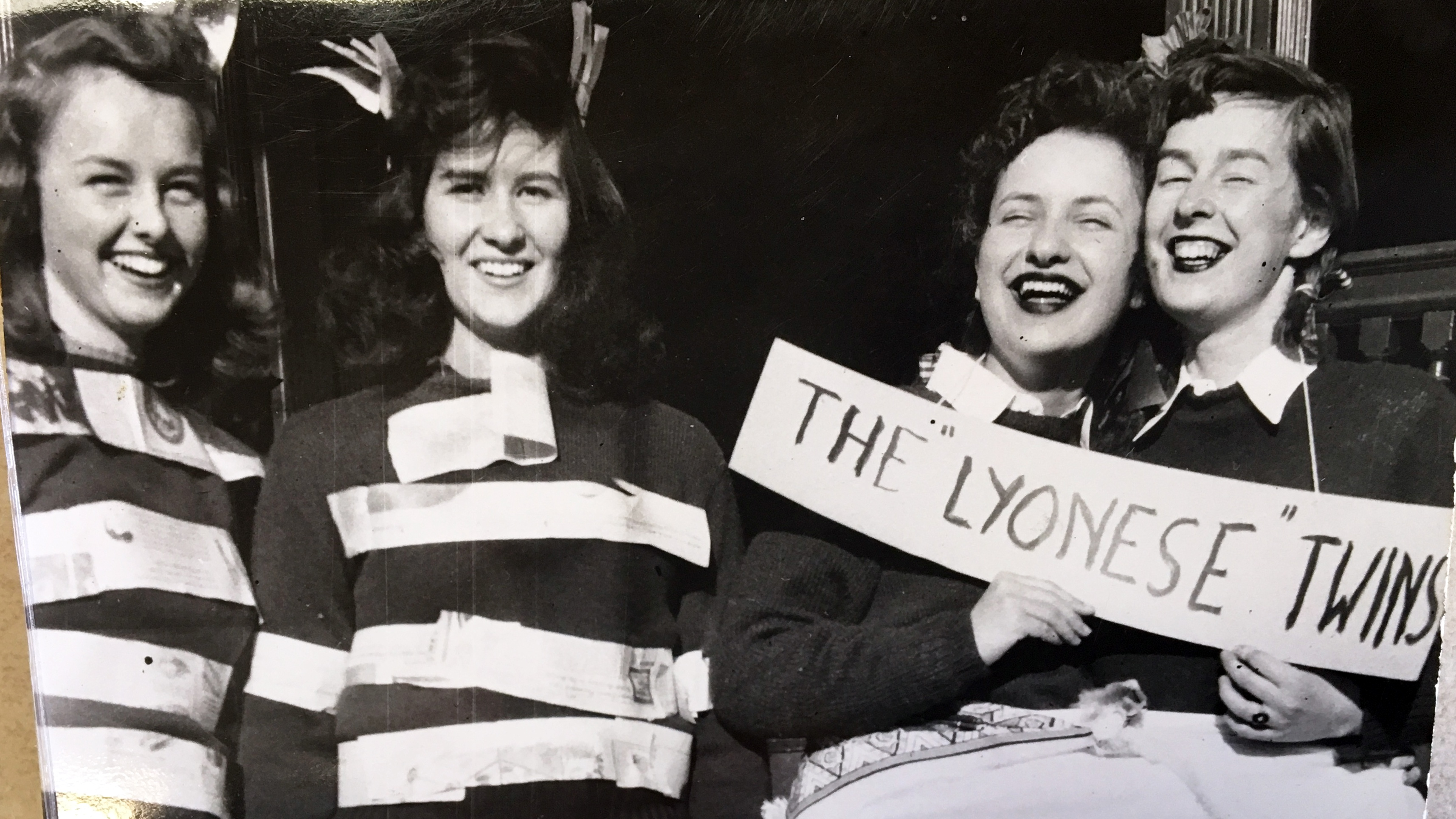 "A pair of ""Lyonese"" twins spotted during a 1950s Hazing Day"