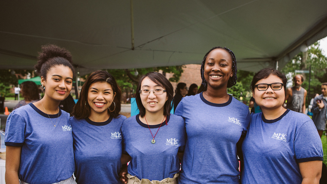 Cultural center student staff, from left: Gabby Hernandez '19, Kalea Martín '19, Linda Zhang '20, Kuzie Madungwe '21 and Katie Dick '20