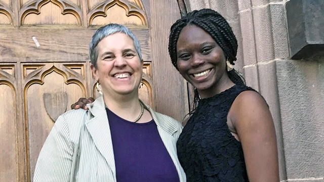 Sasha Nyari (left) and Alheri Egor-Egbe '17 (right) at the 2017 Stoling ceremony