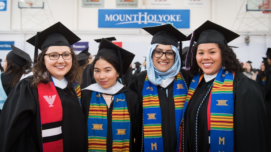Seniors, donning stoles, prepare to line up for Commencement 2017