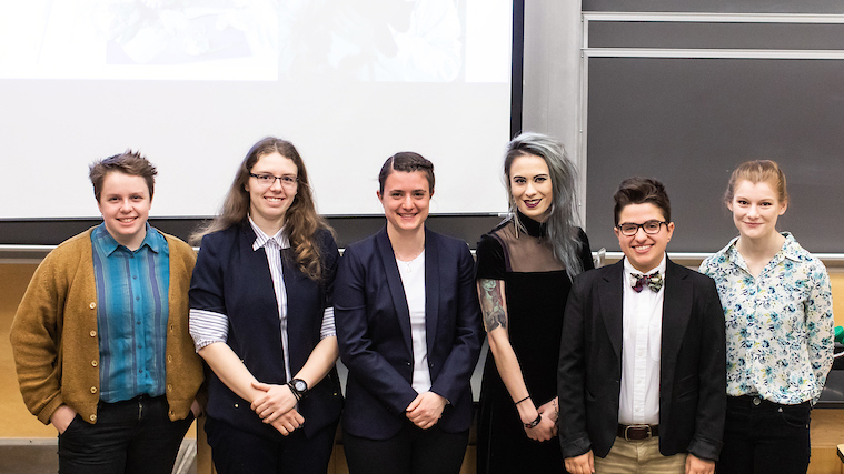 Stella Elwood (third from right) and members of her 2019 Senior Symposium panel