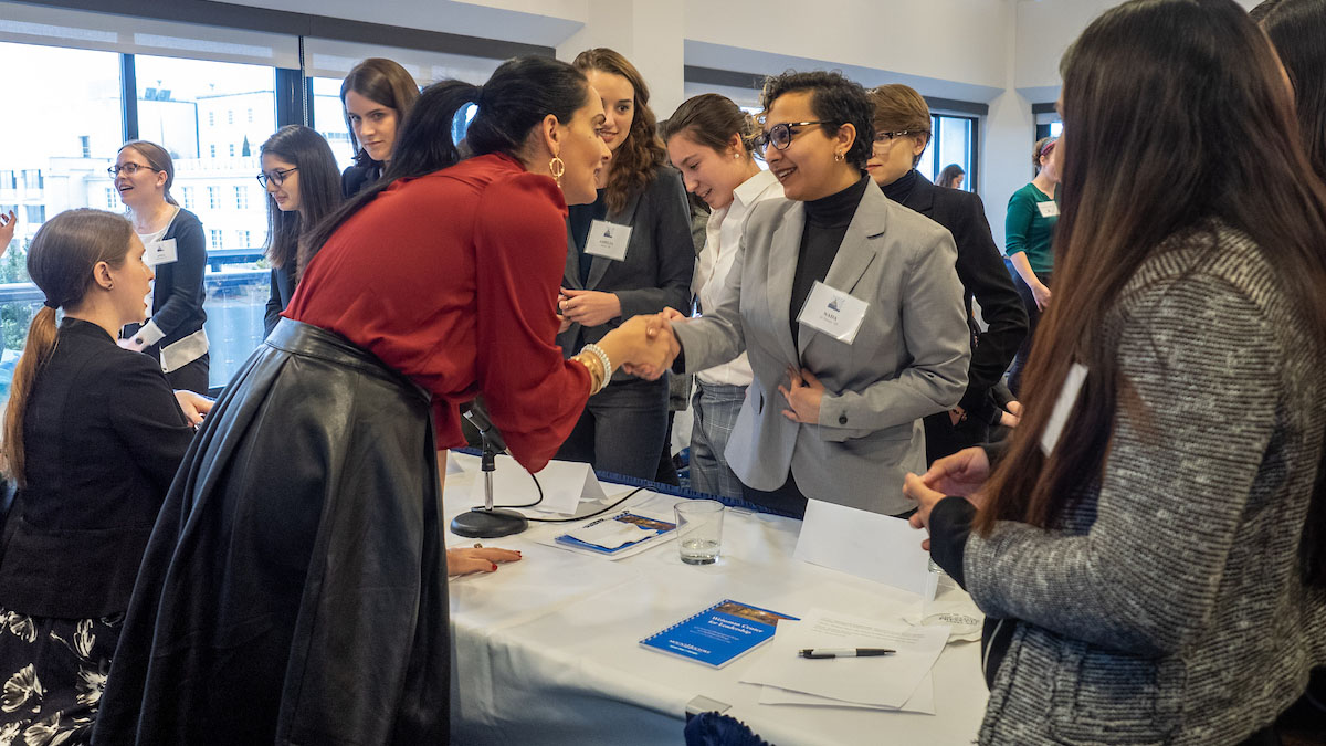 Students connect with alumnae at the annual Careers in Public Service event in Washington, D.C.