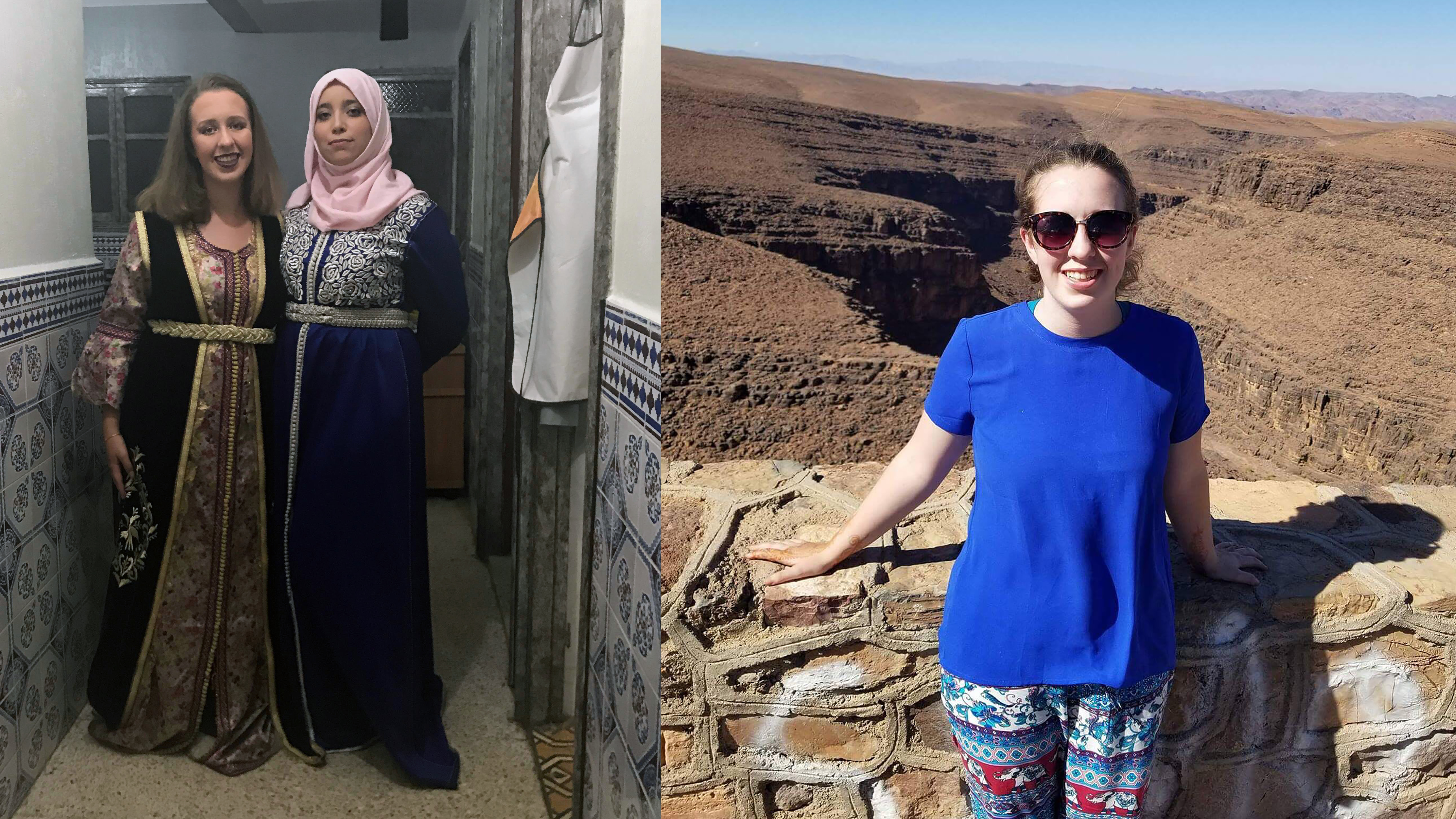 From left, Madeline Fitzgerald '21 and Hajar attend a wedding; Fitzgerald in the Atlas Mountains, Sahara desert.