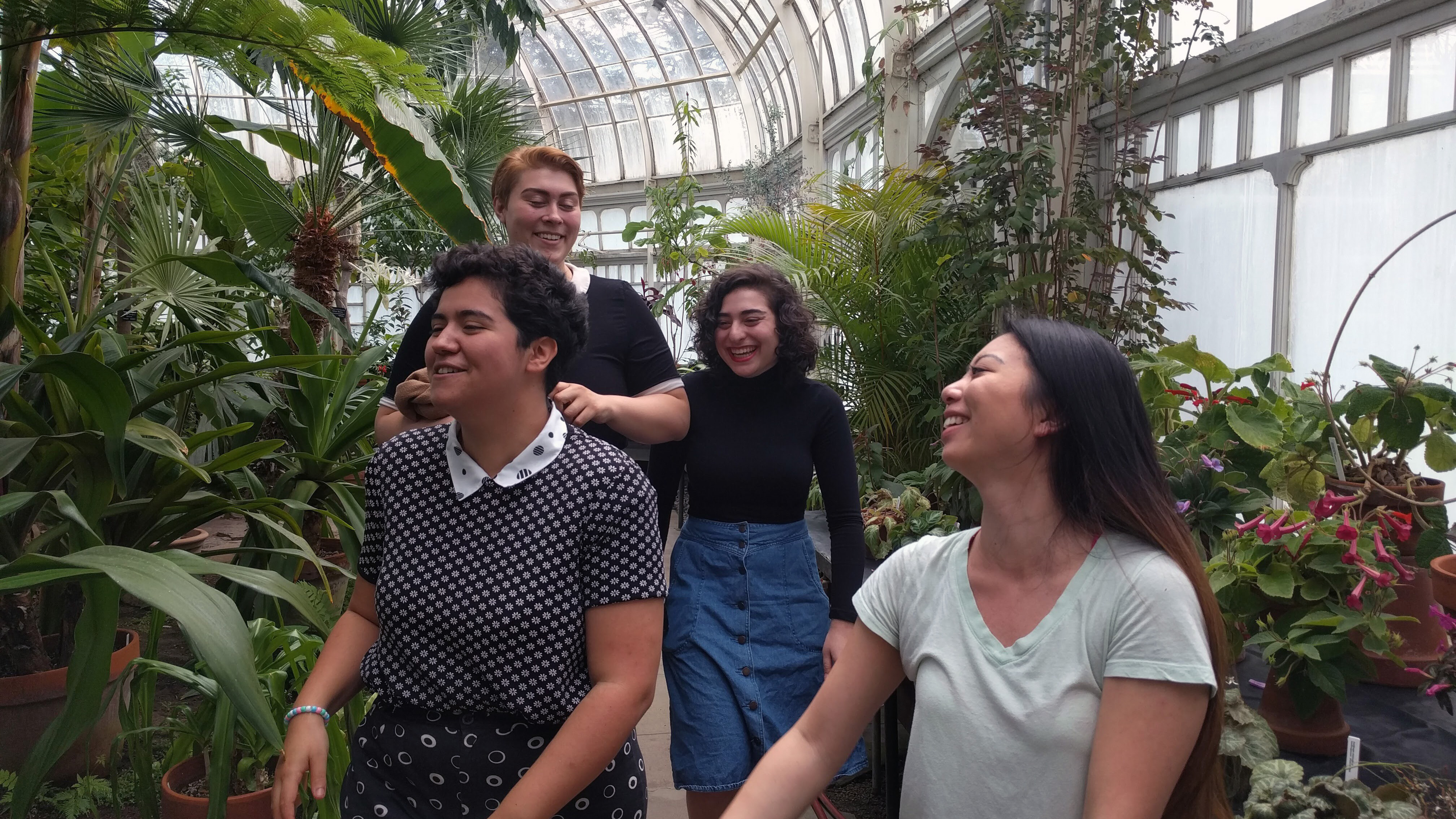 Mollie Grubman (second from right) with some Project: Theatre board members in the Talcott Greenhouse, 2017