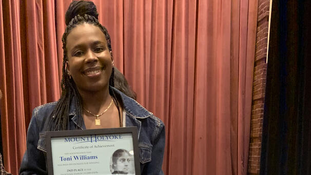 Toni-Ann Williams '23 receives her award during the 2019 Hortense Parker Celebration