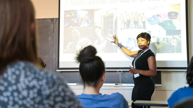 A student presents at LEAP 2017