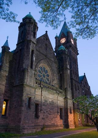 Abbey Memorial Chapel and Mary Lyon Hall at night
