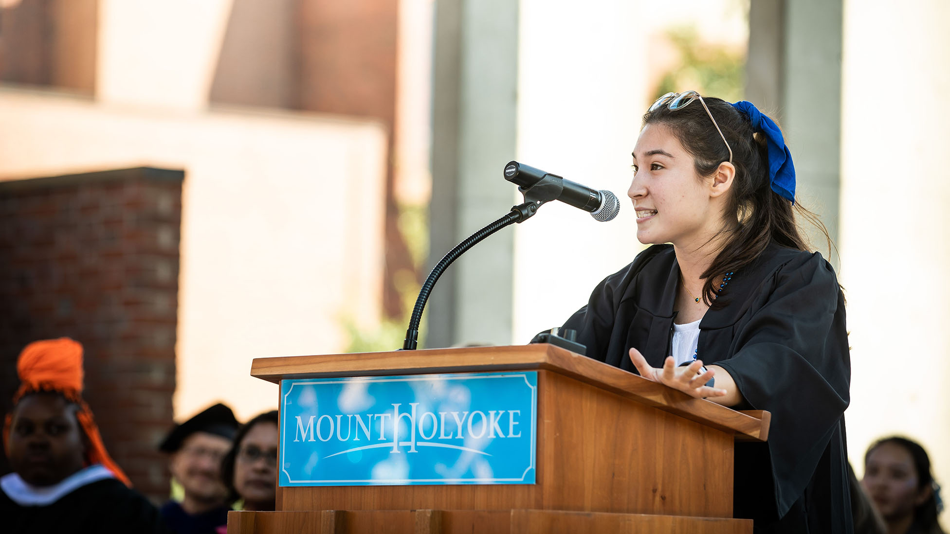 Olivia Vejcik, 2020 class board president, at Convocation 2019