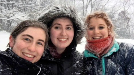Cecilia Malnis and friends on a snowy day