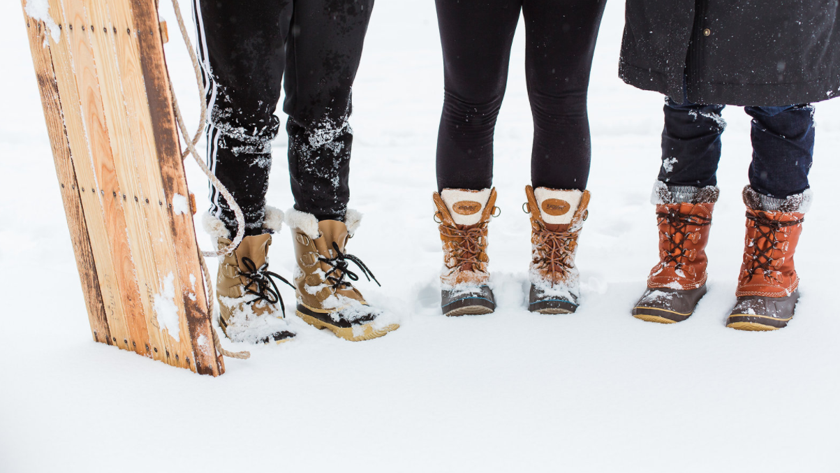 Snow, students, sled. And boots. Snow day, 2018.