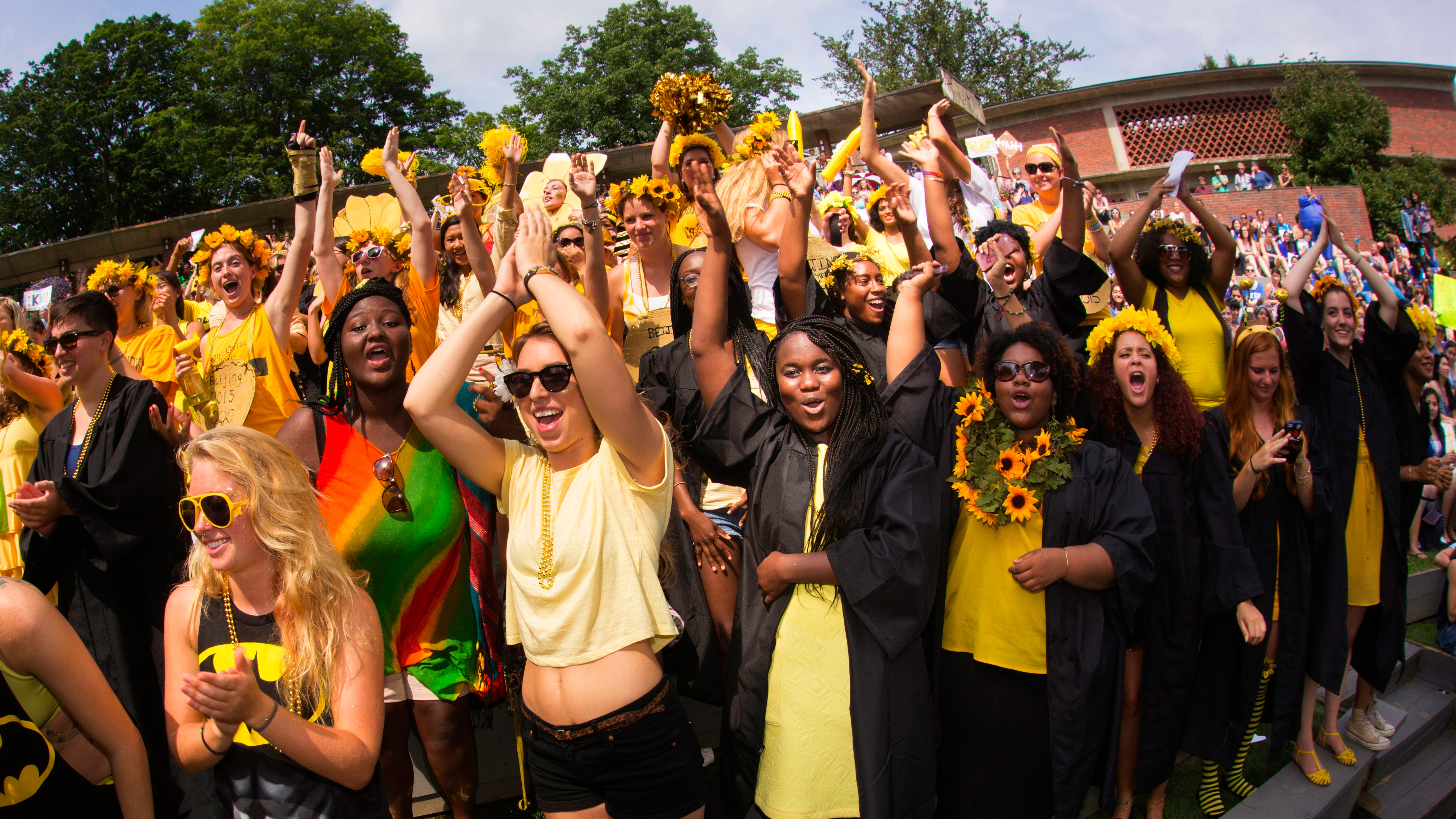 Students celebrate during Convocation each fall