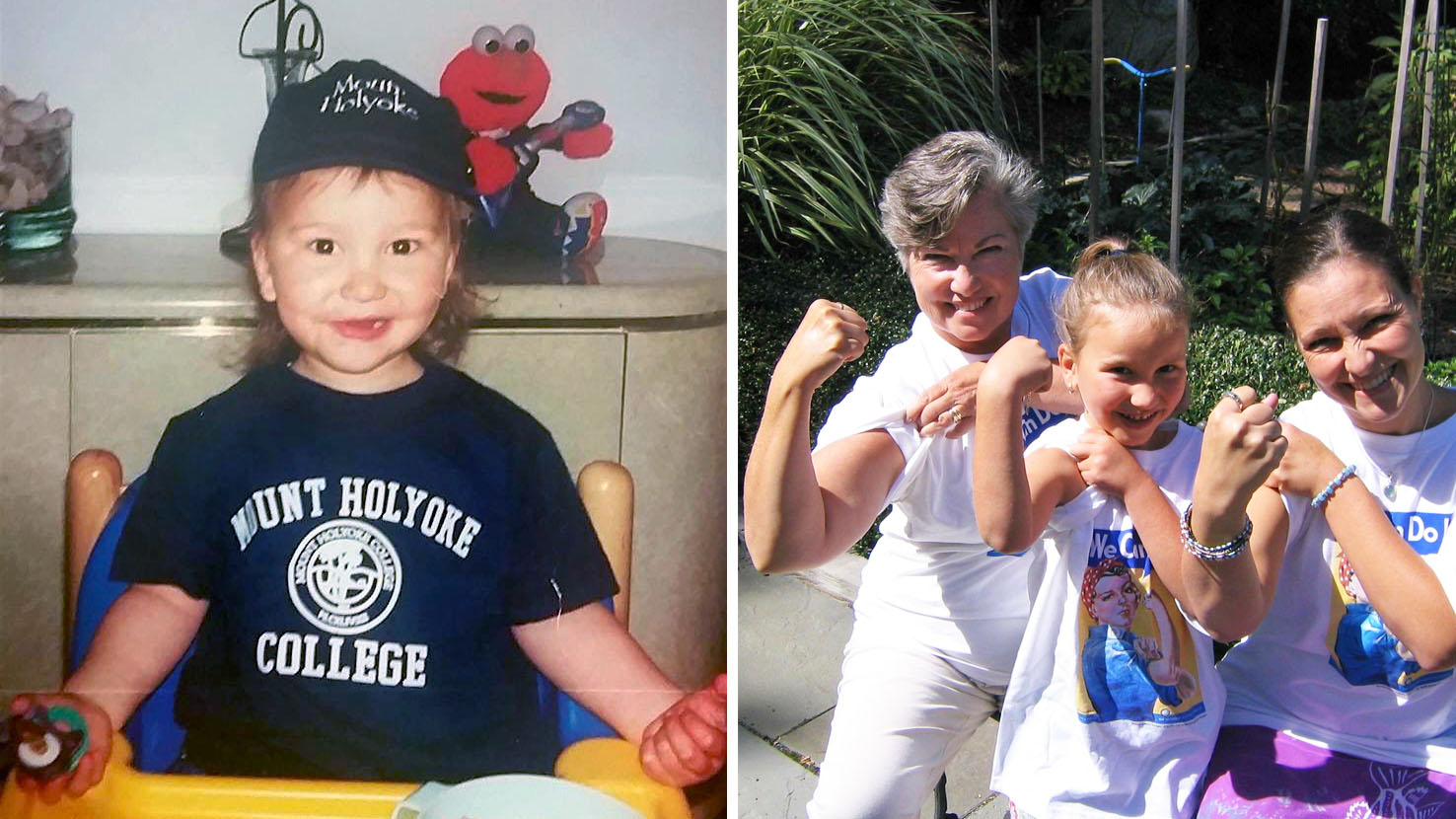 Xiomara Núñez '20, back in her Elmo days and striking a power pose with her grandmother and mom