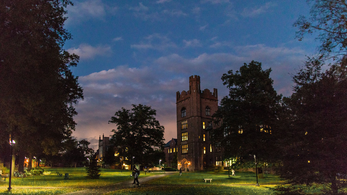 The campus at dusk