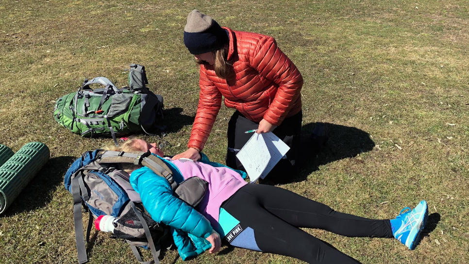 Outing Club members practice wilderness first aid