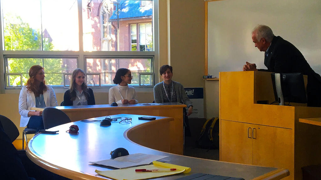 Shown, from left: senior LEAP panelists Maddy Skrak, Eileen O'Grady, Sana Hasan and Rebecca Mullen with moderator Todd Brewster.