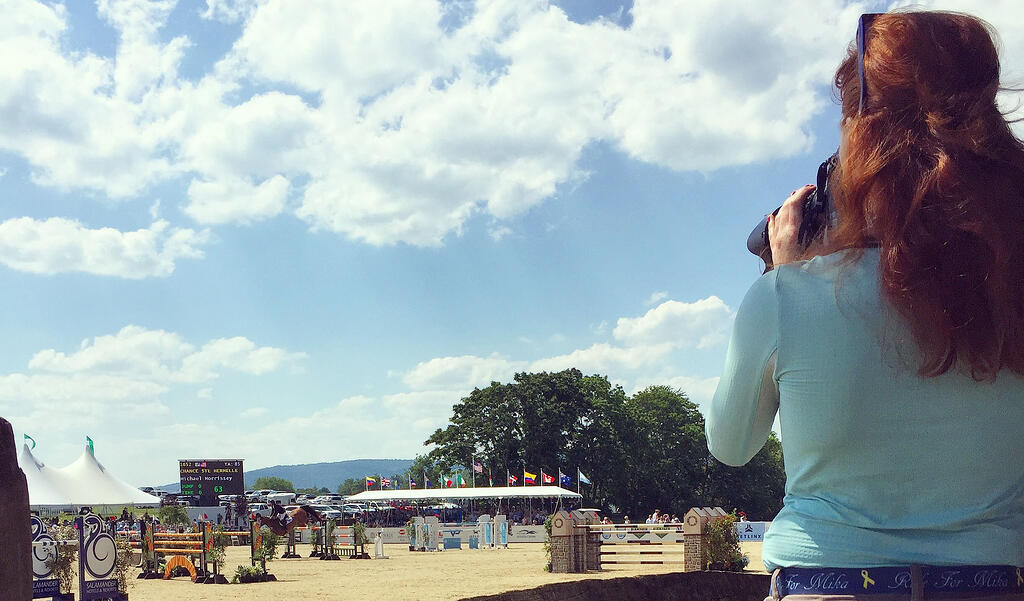 Maddy Skrak '18 scopes the scene at the 2017 Upperville Colt & Horse Show.