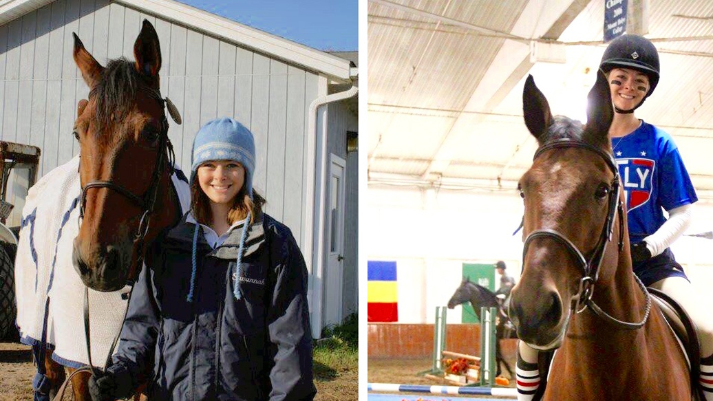 From left, Sabrina Fox '18 with Ronaldo in her high school days and during her IHSA career