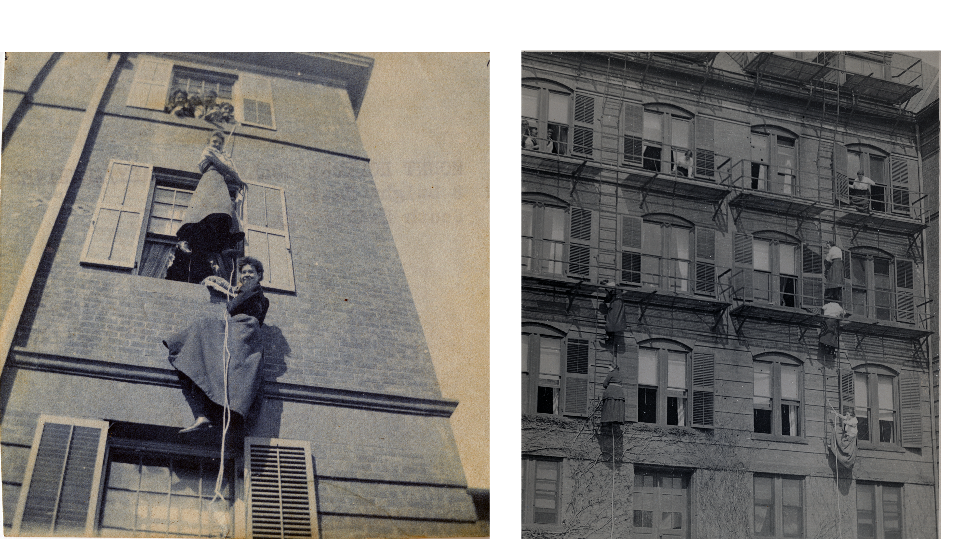 Students practice climbing out of residence halls windows during fire drills, ca. 1903 (left) and 1920 (right)