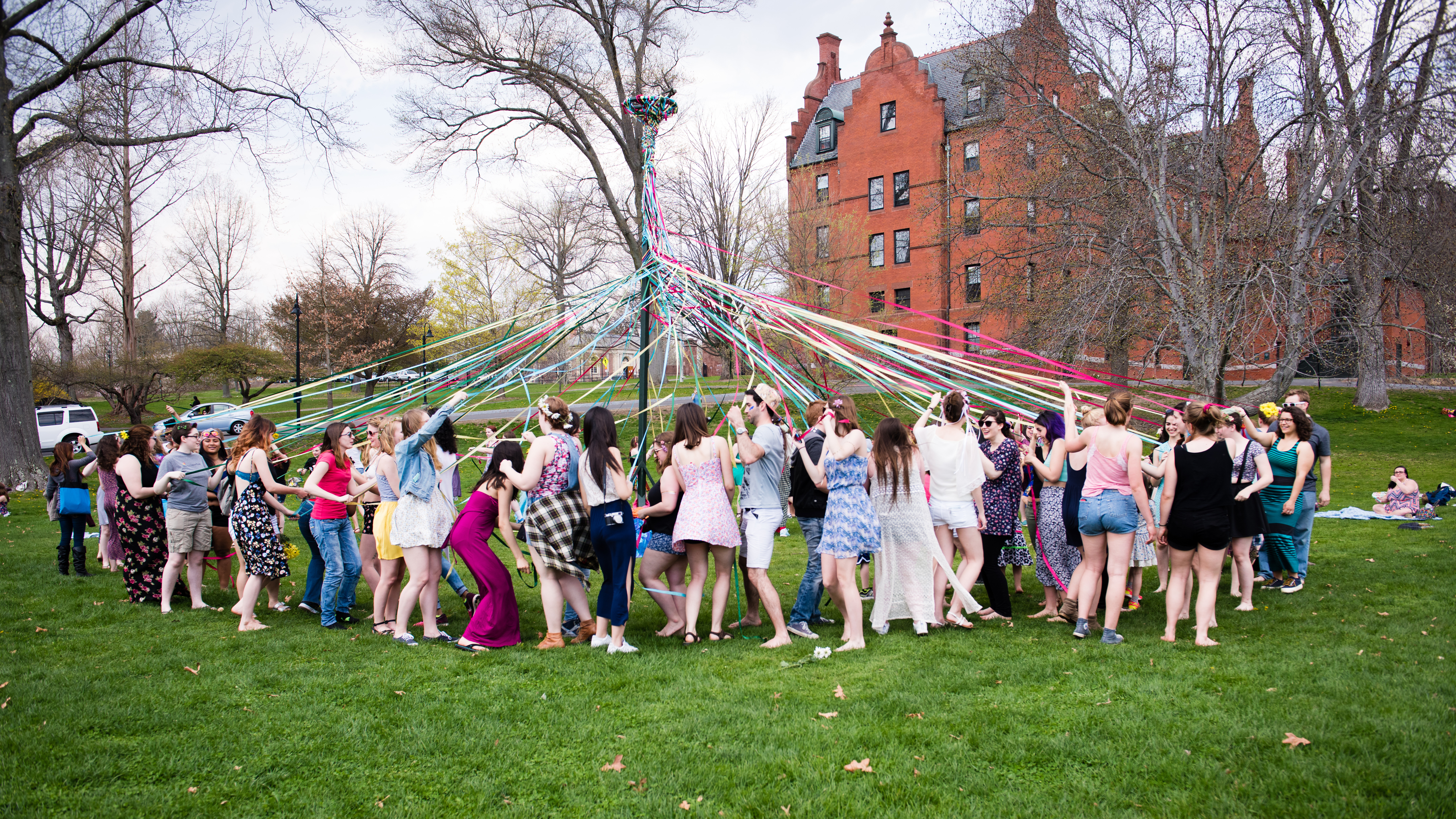 Dancing around the maypole, Pangy Day, 2016