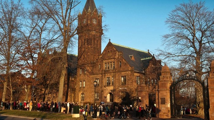 Queuing up for Vespers outside of Abbey Chapel