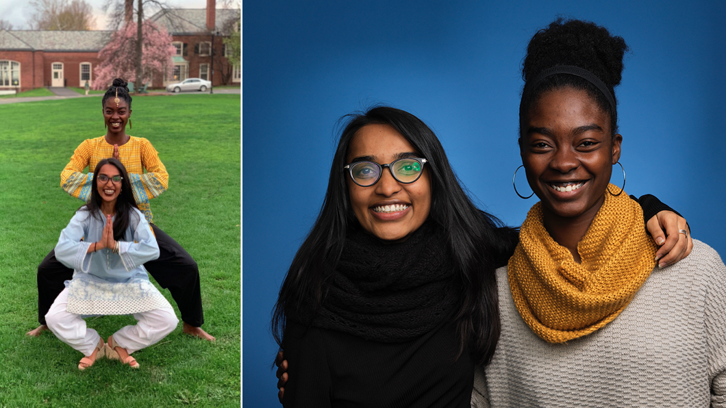 In photo at left, Yahzid (in back) and Javeria Kella '19 enjoy the last week before graduation. In photo at right, the friends sit for a WeAreMountHolyoke portrait.