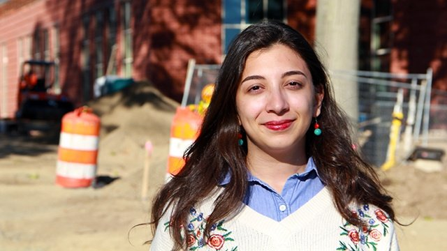 Farah Rawas '17 spent a summer working on the Community Center construction.