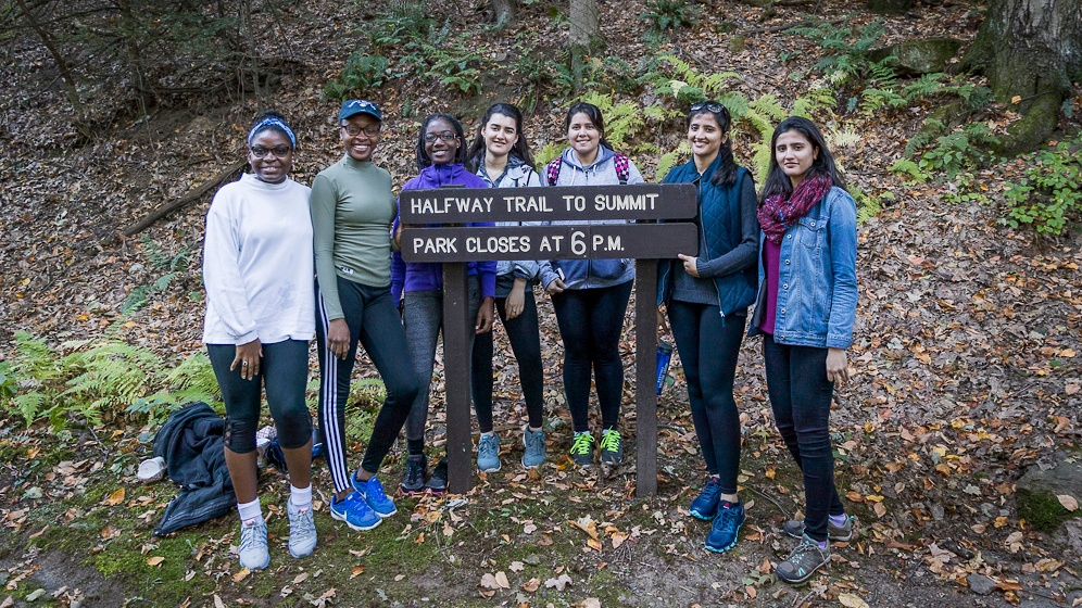 Photo of students at the bottom of the halfway trail