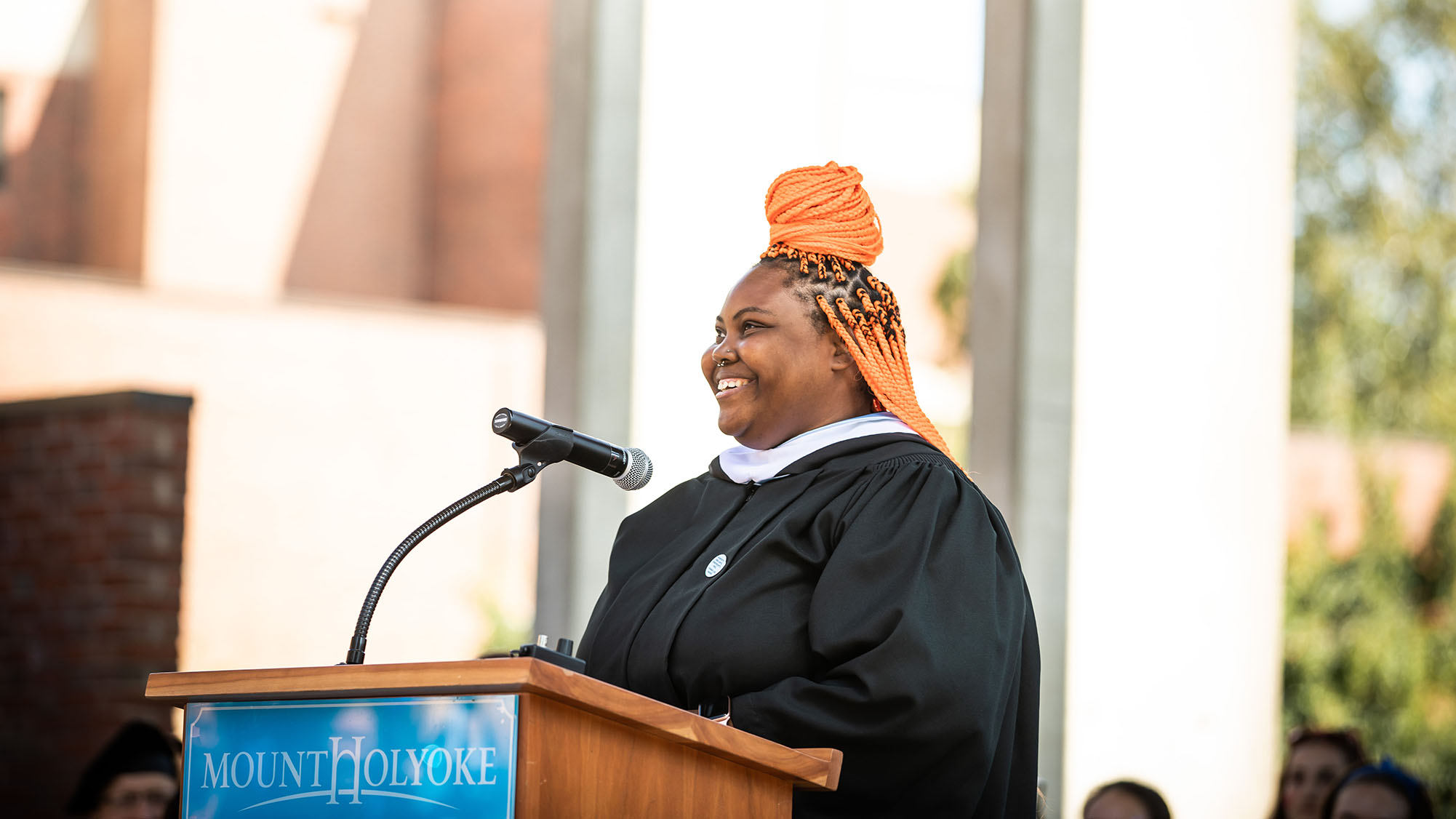 Ymani Francis '16 addresses the crowd, Convocation 2019