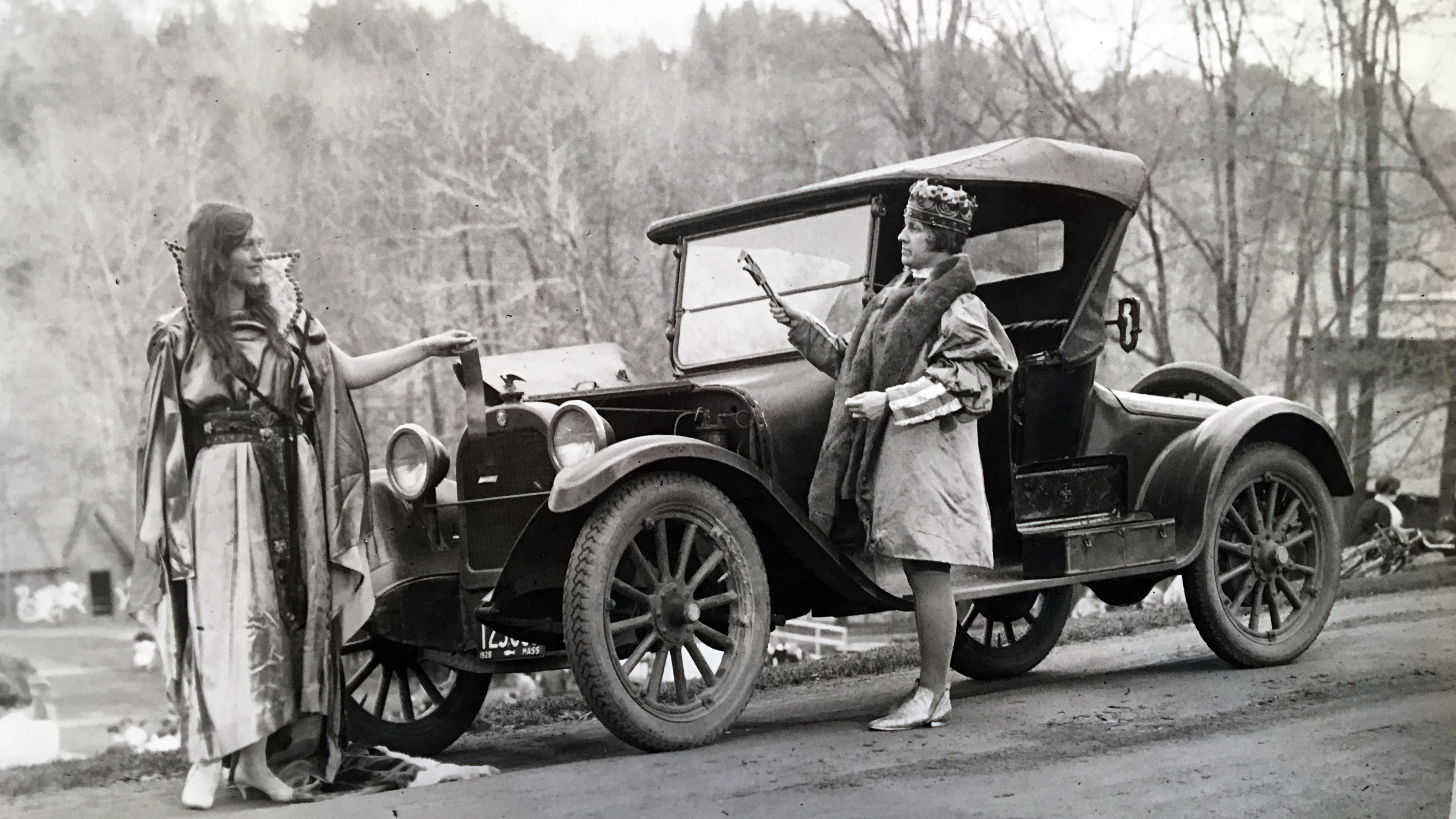May Day king, queen and car, 1928
